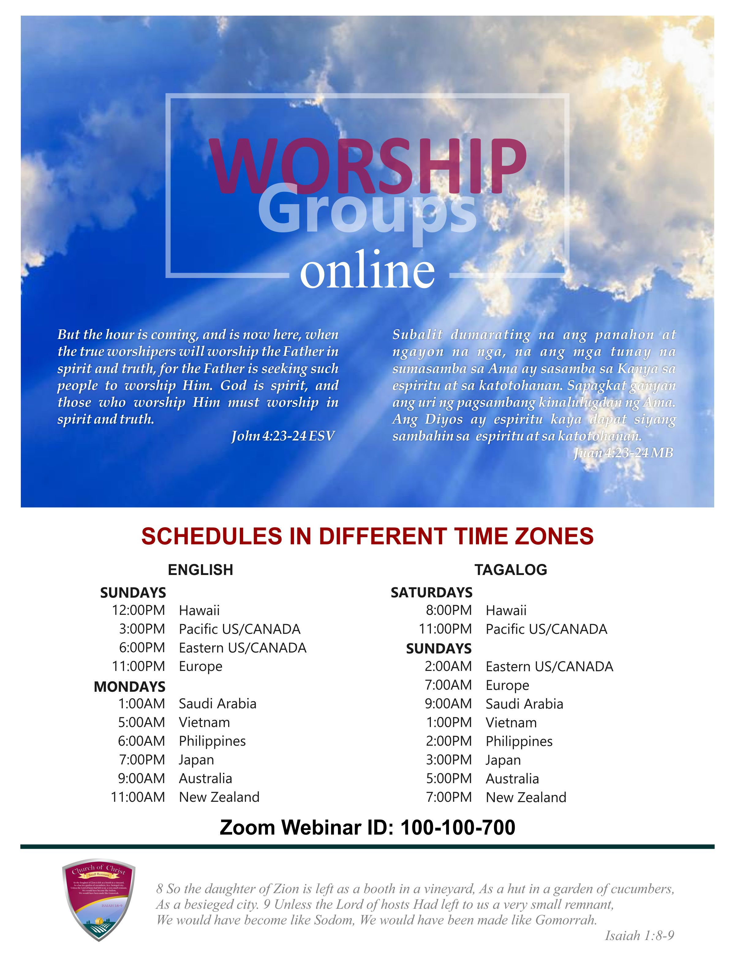 Church of Christ Small Remnant - [2018 04 29] Online Worship Service